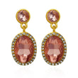 Kriaa Brown Austrian Stone Dangler Earrings - 1306924