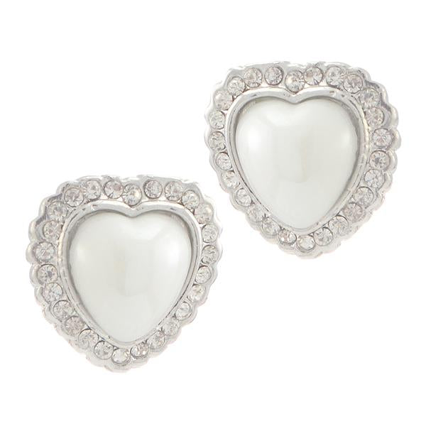 Kriaa Silver Plated White Austrian Stone Pearl Stud Earrings - 1307104