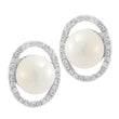 Kriaa Silver Plated White Austrian Stone Pearl Stud Earrings - 1307105