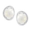 Kriaa Silver Plated White Austrian Stone Pearl Stud Earrings - 1307106
