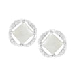 Kriaa White Pearl Stone Silver Plated Stud Earrings - 1307108