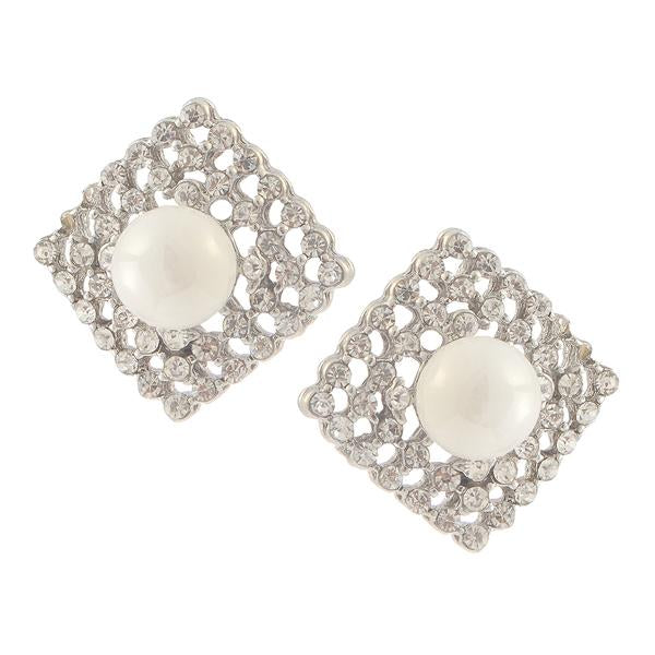 Kriaa Silver Plated White Austrian Stone Pearl Stud Earrings - 1307111