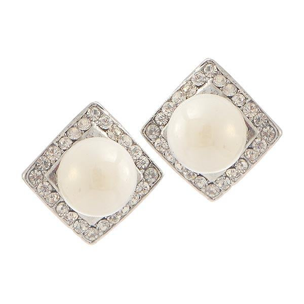 Kriaa White Pearl Stone Silver Plated Stud Earrings - 1307112