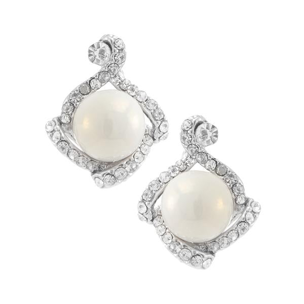 Kriaa  Silver Plated White Austrian Stone Pearl Stud Earrings - 1307114