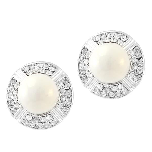 Kriaa Silver Plated White Austrian Stone Pearl Stud Earrings - 1307124