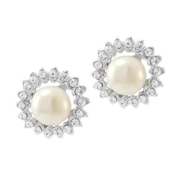 Kriaa White Pearl Stone Silver Plated Stud Earrings - 1307126