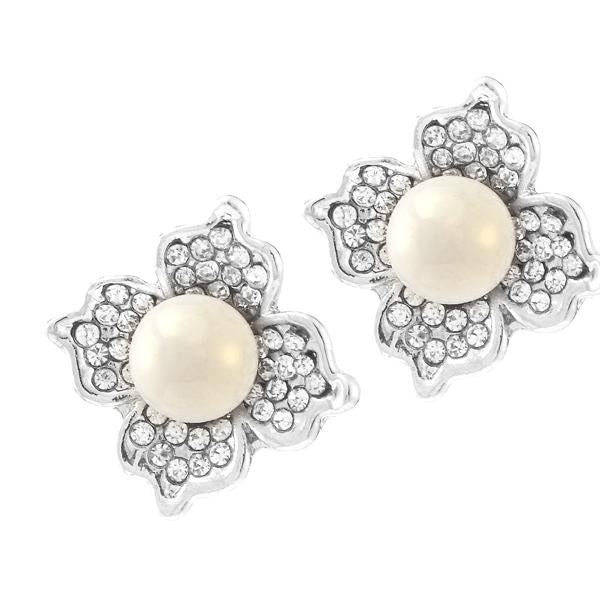 Kriaa Silver Plated White Austrian Stone Pearl Stud Earrings - 1307129
