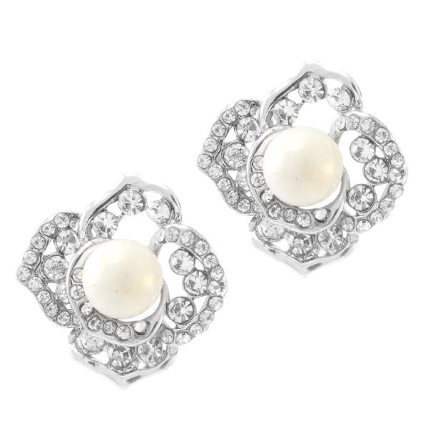 Kriaa Silver Plated White Austrian Stone Pearl Stud Earrings - 1307130