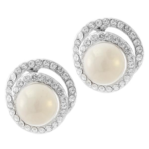 Kriaa White Pearl Austrian Stone Silver Plated Stud Earrings - 1307131