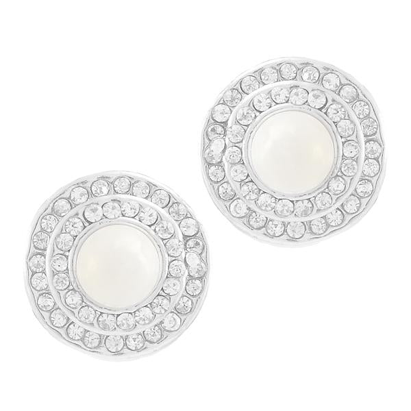 Kriaa Silver Plated White Austrian Stone Pearl Stud Earrings - 1307133