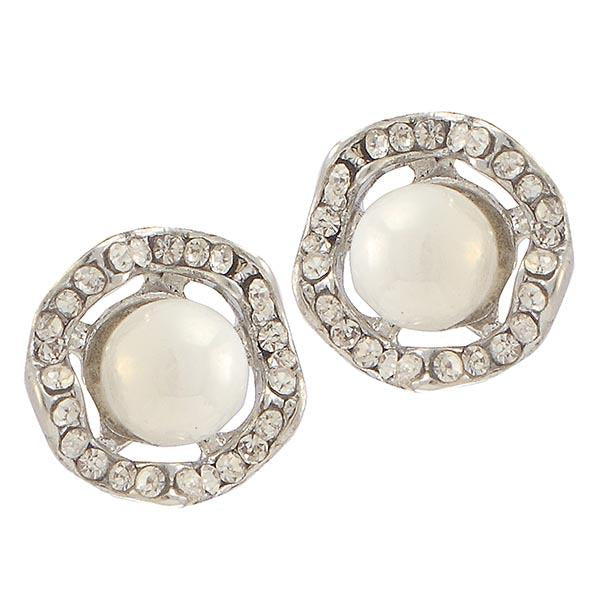 Kriaa White Pearl Stone Silver Plated Stud Earrings - 1307143