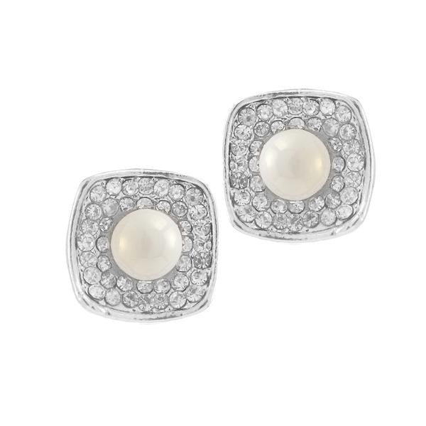 Kriaa Silver Plated White Austrian Stone Pearl Stud Earrings - 1307146