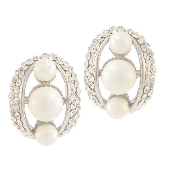 Kriaa  Silver Plated White Austrian Stone Pearl Stud Earrings - 1307148