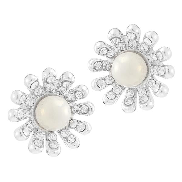 Kriaa  Silver Plated White Austrian Stone Pearl Stud Earrings - 1307154