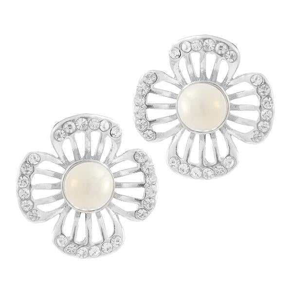 Kriaa White Pearl Stone Silver Plated Studs Earrings - 1307157