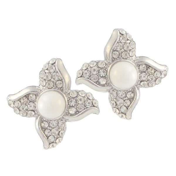Kriaa Silver Plated White Austrian Stone Pearl Stud Earrings - 1307160