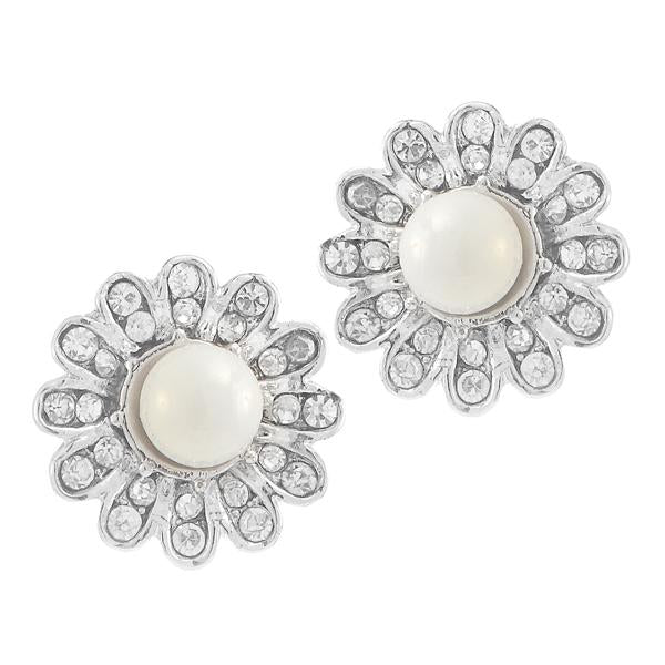 Kriaa White Pearl Stone Silver Plated Stud Earrings - 1307161