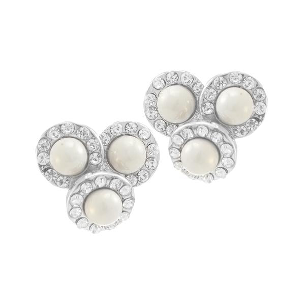 Kriaa Silver Plated White Austrian Stone Pearl Stud Earrings - 1307163