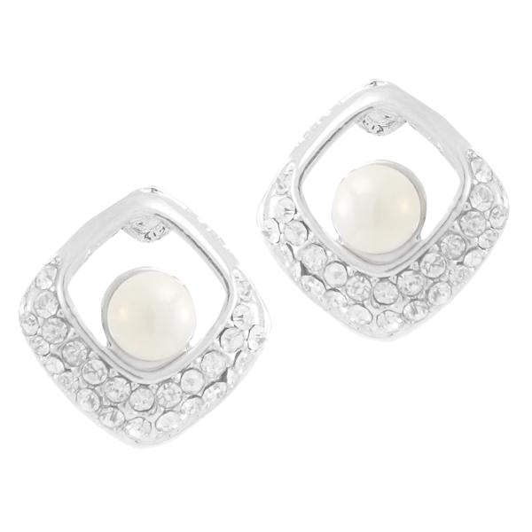 Kriaa White Pearl Stone Silver Plated Studs Earrings - 1307164