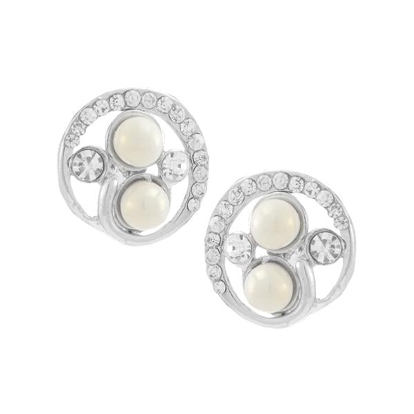 Kriaa White Pearl Stone Silver Plated Studs Earrings - 1307166