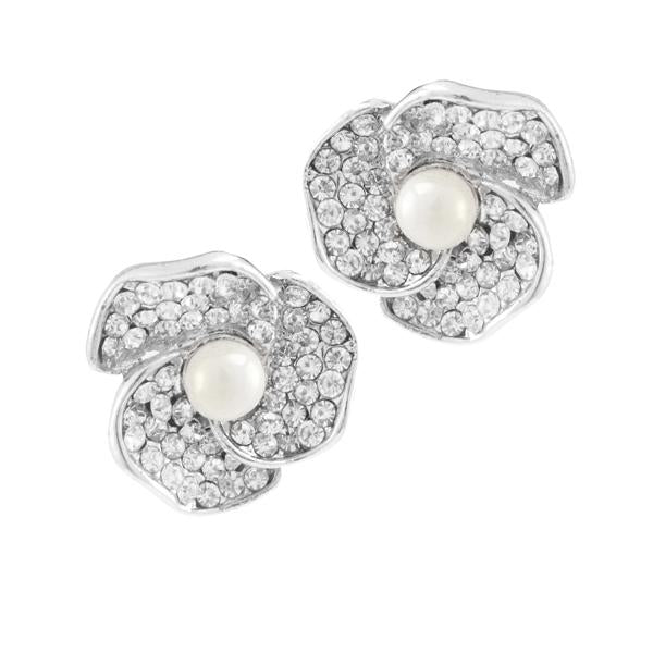 Kriaa Silver Plated White Austrian Stone Pearl Stud Earrings - 1307168