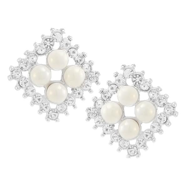 Kriaa White Pearl Stone Silver Plated Stud Earrings - 1307170
