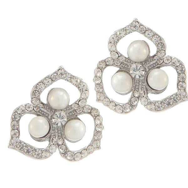 Kriaa Silver Plated White Austrian Stone Pearl Stud Earrings - 1307171