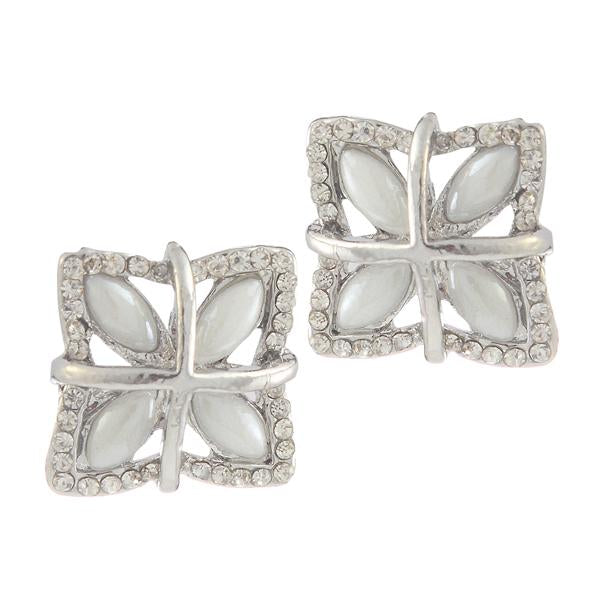 Kriaa Silver Plated White Austrian Stone Pearl Stud Earrings - 1307174