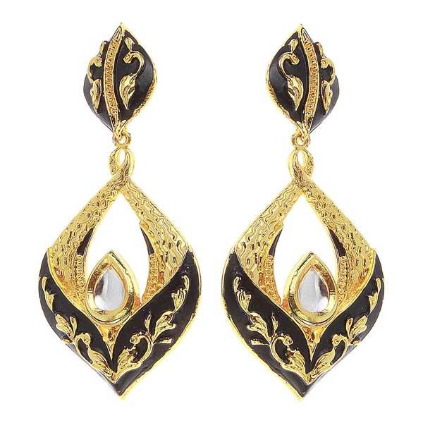 Aurum Meenakari Gold Plated Kundan Dangler Earrings - 1307226