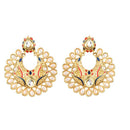 Kriaa Meenakari Pearl Kundan Chandbali Earrings