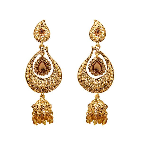 Kriaa Gold Plated Austrian Stone Kundan Dangler Earrings - 1307621
