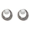 The99Jewel Marcasite Stone White Pearl Stud Earrings - 1308203