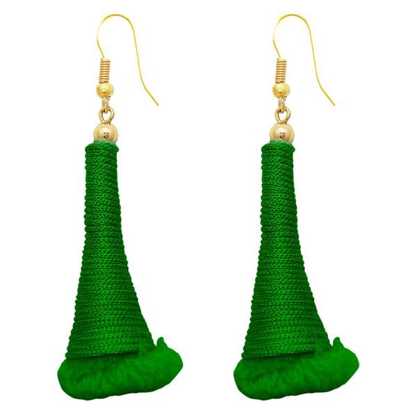 The99Jewel Gold Plated Green Thread Earrings - 1308318F