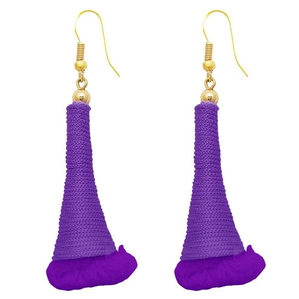 The99Jewel Gold Plated Purple Thread Earrings - 1308318J