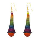 Jeweljunk Gold Plated Multicolour Thread Dangler Earrings