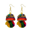 Kriaa Gold Plated Multi Beads Pom Pom Earrings - 1308326