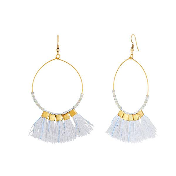 Tip Top Fashions White Beads Thread Earrings - 1308337