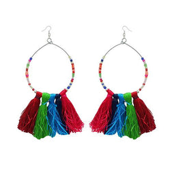 Tip Top Fashions Silver Plated Multicolor Thread Earrings - 1308339M