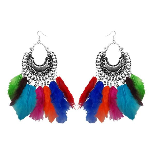 47788f1c6d3 Tip Top Fashions Rhodium Plated Afghani Feather Earrings - 1308355M ...