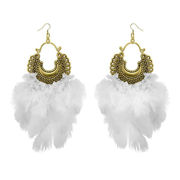 Jeweljunk Antique Gold Plated Afghani Feather Earrings - 1308379A