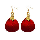 Jeweljunk Gold Plated Maroon Thread Earrings