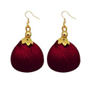 Jeweljunk Gold Plated Brown Thread Earrings