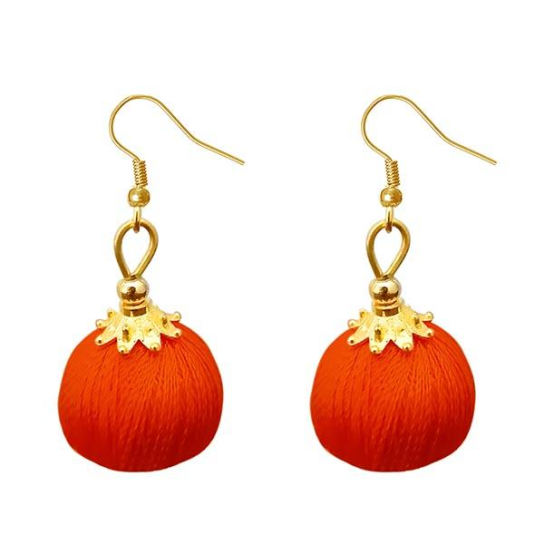 Jeweljunk Orange Thread Gold Plated Thread Earrings