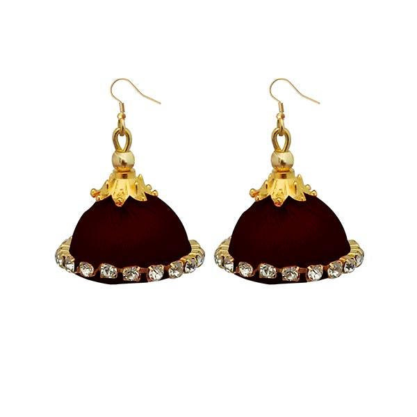 Jeweljunk Austrian Stone Brown Thread Earrings