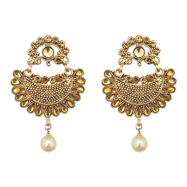 Kriaa Brown Austrian Stone Pearl Chandbali Earrings - 1309629