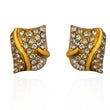 Kriaa Gold Plated  Austrian Stone Stud Earrings - 1310031