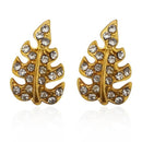 Kriaa Leaf Shaped Gold Plated Stud Earrings