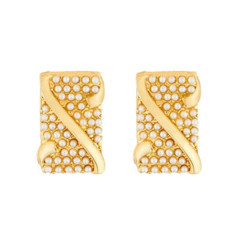 Kriaa Gold Plated Pearl Stud Earrings - 1310038