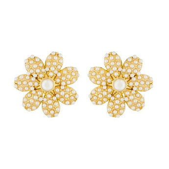 Kriaa Floral Design Gold Plated Pearl Stud Earrings - 1310040