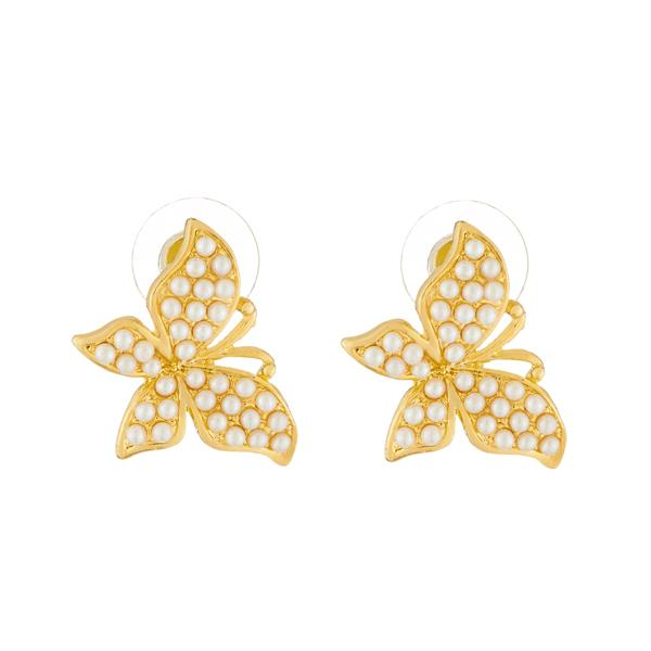 Kriaa Gold Plated Butterfly Design Pearl Stud Earrings - 1310043